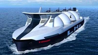 Liquid hydrogen tanker ship, shipping liquified hydrogen for industry and fuel cell vehicles.
