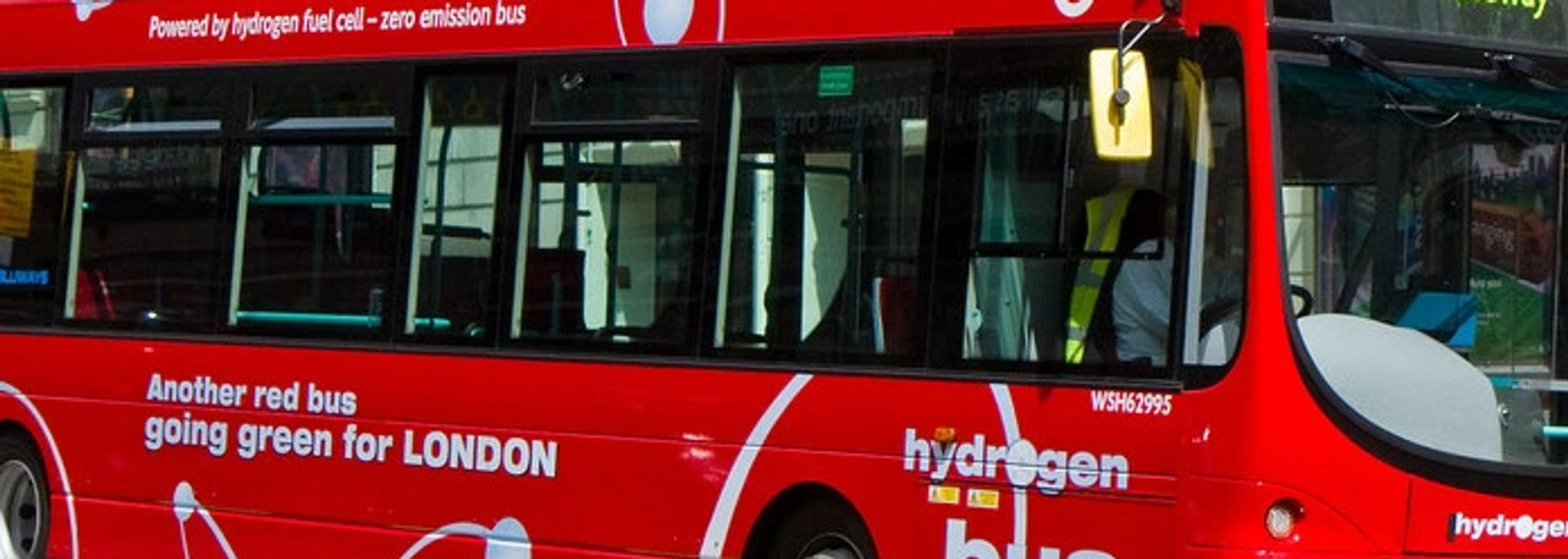 Zero emission London hydrogen (H2) fuel cell bus deployed as part of London hydrogen expansion proje