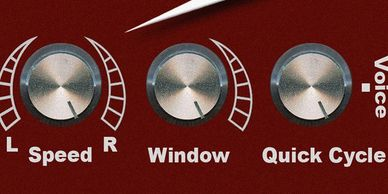 LaserPro has 3 knobs to adjust speed and direction, window size, and quick cycle or voice command.