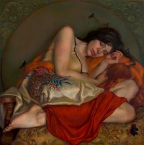 """The Messengers of Sleep"" oil painting"