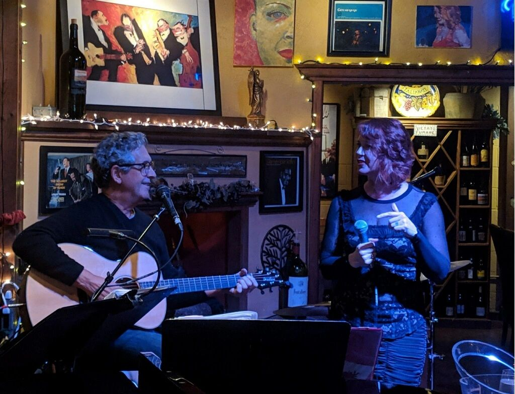 Bob Demary and Kat Cogswell performing at Arrivederci Wine & Jazz 3/1/19