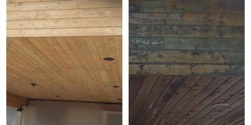 Look at the difference of how the pine carport looks after we removed the de-laminated stain.