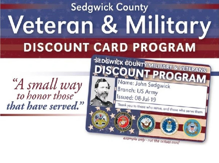 Sedgwick County Veteran military Discount ID card A government issued photo ID