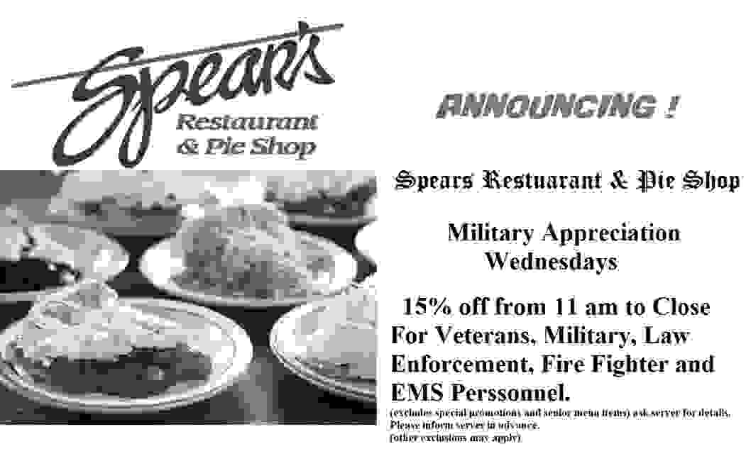 Spears restaurant & Pie Shop http://spearsrestaurant.com/