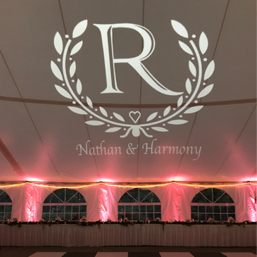 Portland Wedding Uplights and Gobo / Monogram from Paradox Productions