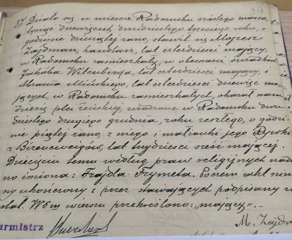 Fred's first document discovery in Poland's Radomsko Archives,