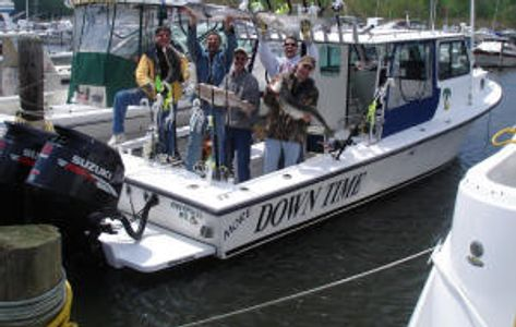 Trophy Striped Bass - Down Time Sportfishing Charters on board the Down Time
