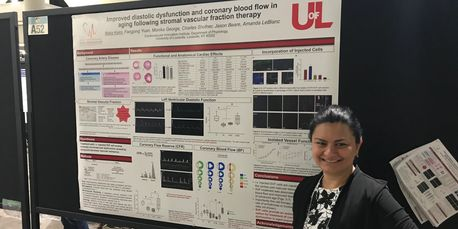Dr. Natia Kelm presents her poster at Experimental Biology in San Diego