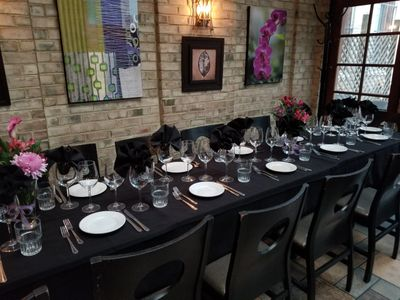 Have your rehearsal dinner or birthday party in our beautiful Garden Room with attached patio.
