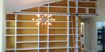 Custom made Beautiful home library build out. By Phil's Handy Service, Inc. Tampa, Florida