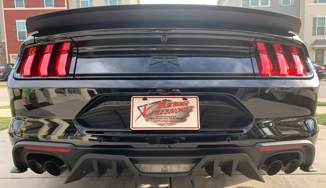 Black RTR Ford Mustang rear bumper with Tuner Xpressions license plate