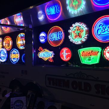 Car and gas station neon signs