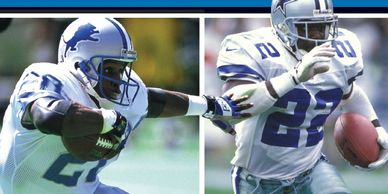 A feature about NFL legends Barry Sanders and Emmitt Smith