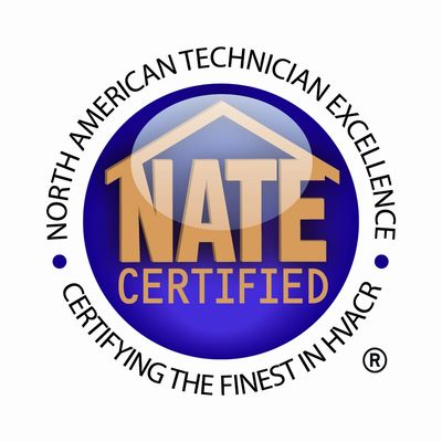 Badge:  North American Technician Excellence NATE certified certifying the finest in HVACR