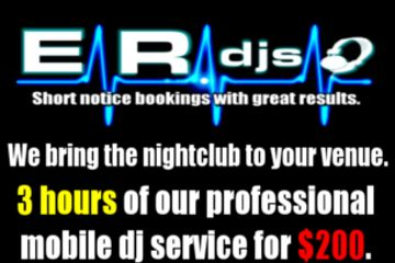 Includes sound and dj live performance for maximum of 3 hours.