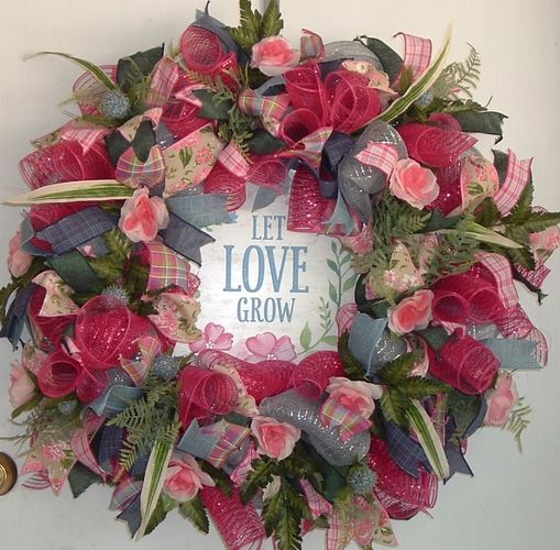 Deco Mesh wreath with floral accents. Front door wreath, great house warming gift. Let Love Grow .