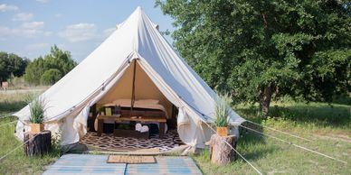 Luxury Glamping Tent at Lake Louisa State Park. CareFree Camping.