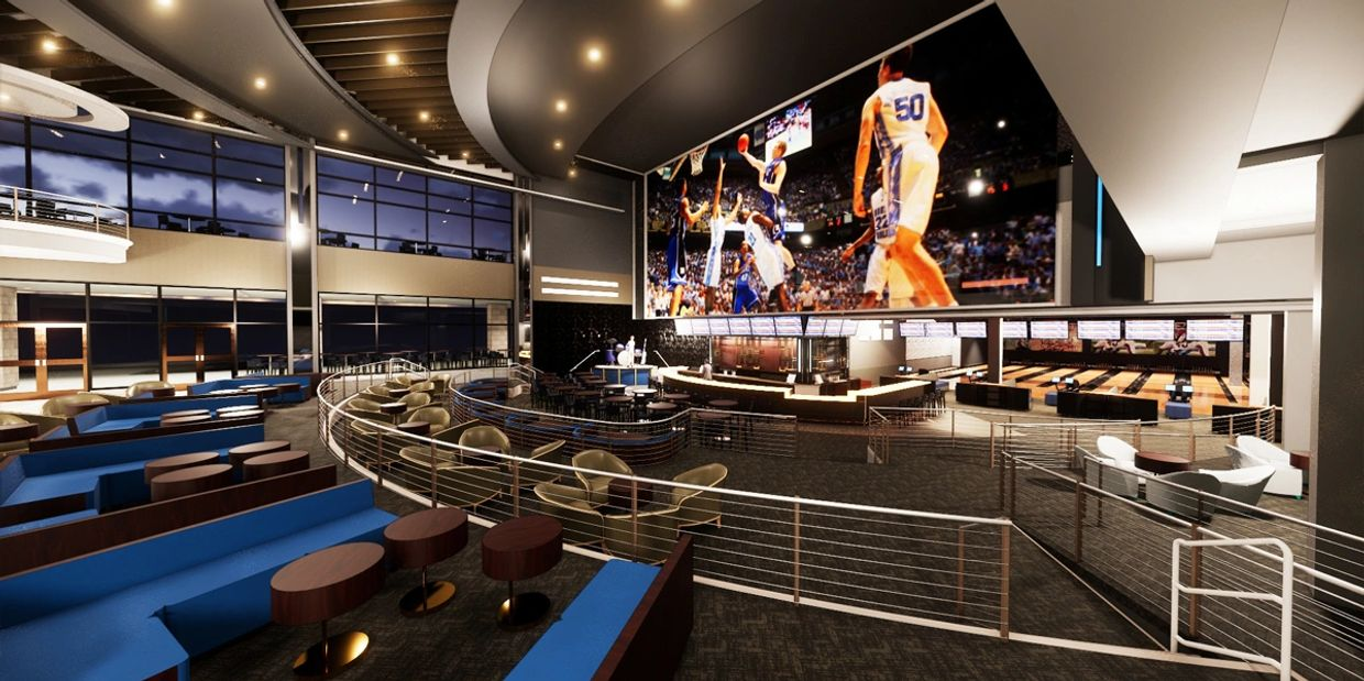 Rendering of the Sports Bar area.
