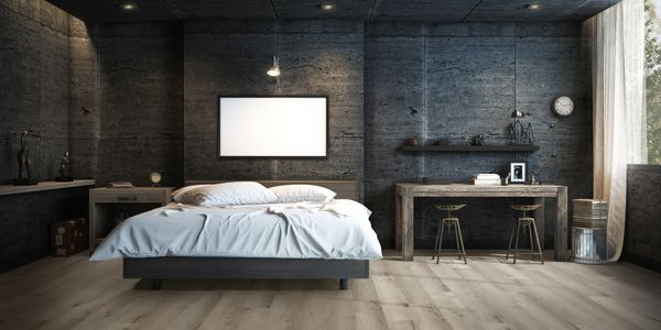 AquaLogic Coastal Grey Luxury Vinyl SPC in Modern Dark Bedroom.
