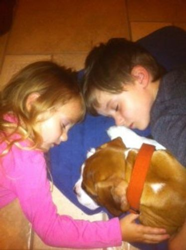 Two children and boxer puppy sleeping