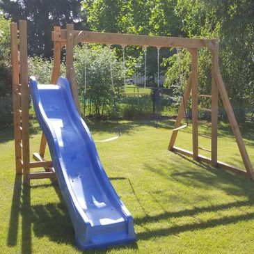 Are free standing swing set with a side slide. Cost is $950 WITH FREE INSTALLATION.