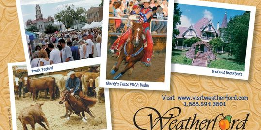 Close-up of Weatherford Chamber brochure photos