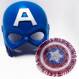 Image from NebulaDraconian - blue helmet with an A, next to a mini red white and blue maille shield