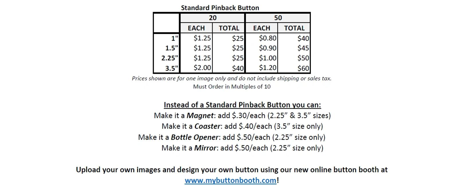 Custom Pinback Button Order Pricing