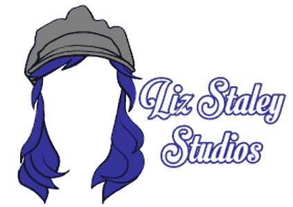 Liz Staley Studios logo long blue hair with hat