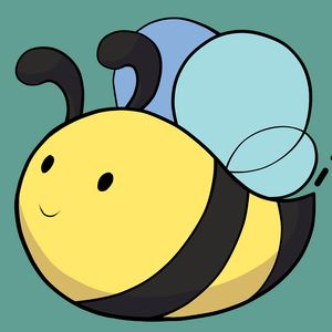 Honey Sweet Studio logo - cute black and yellow bee