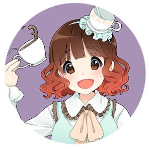 Kara Dennison avatar - Kara as an anime character with a teacup shaped hat and teacup in hand