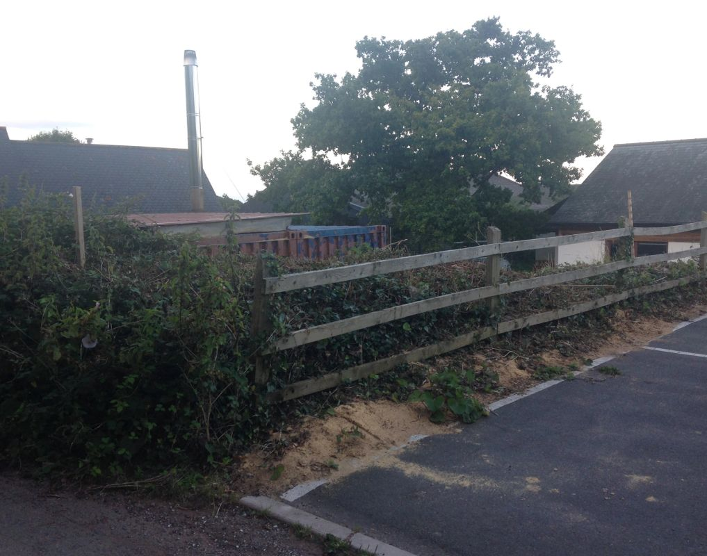 End of the Village Hall car park where the shop will be located