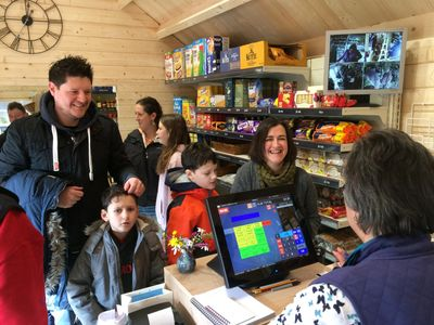 picture of customers inside slapton village shop on opening day