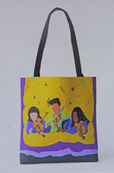 """VIOLINISTS CELEBRATE"" Tote bag African-American  Women Art."