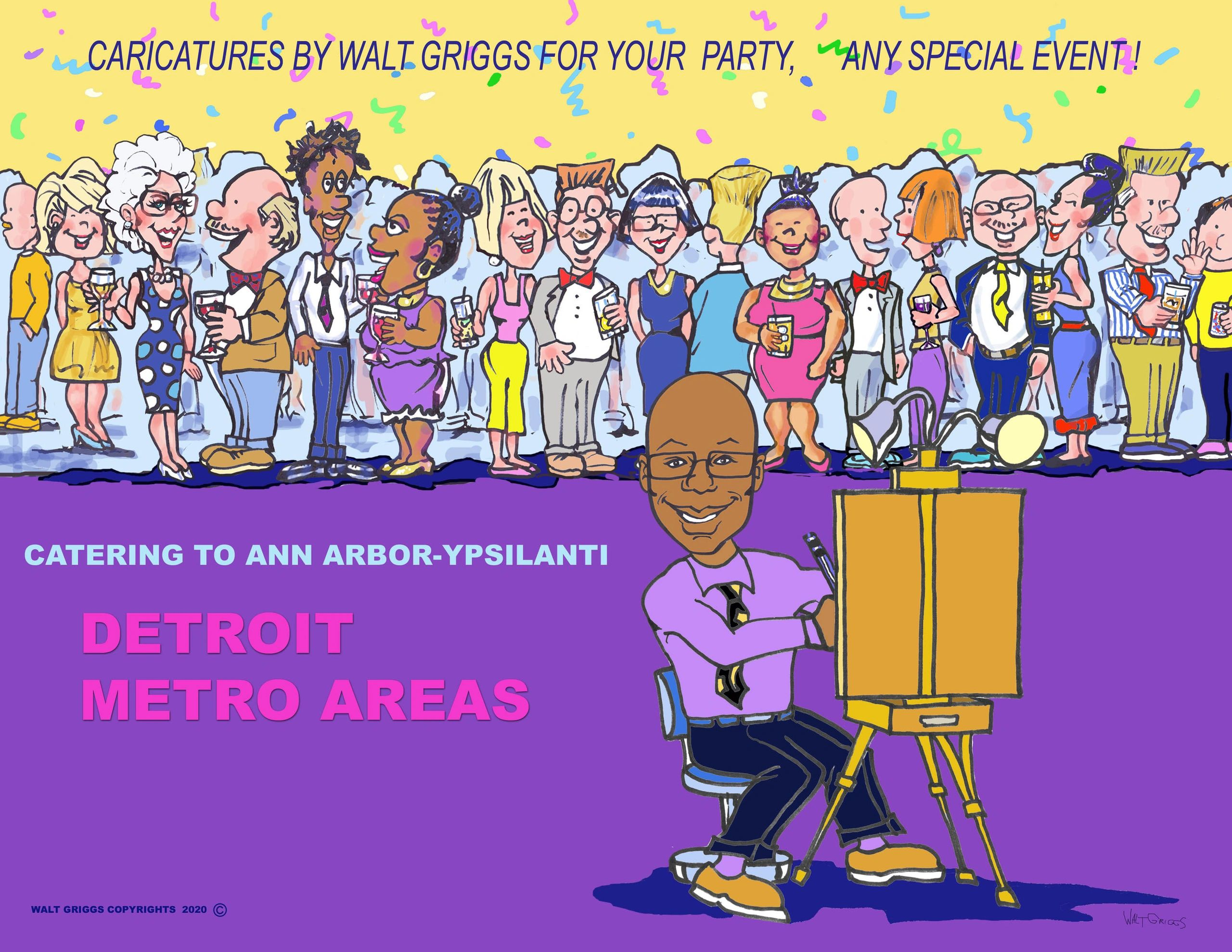 Art By Walt Griggs Caricatures for parties & Illustrations.  Also Art Apparel.