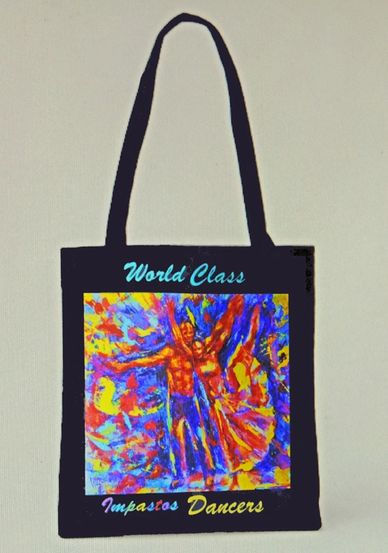 From impasto painting, art on tote bag. African-American art of  dancers. Art by Walt Griggs