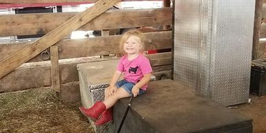 Bertsches were kind enough to let us fit in their barn. Olivia made herself right at home.