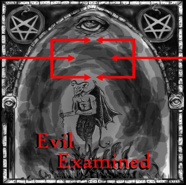 Evil looking devil with creepy Illuminati eye and two E's facing eachother that look like pitchforks