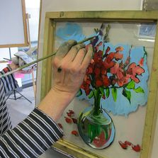 Reverse painting on glass demo at Green River College, October 2015