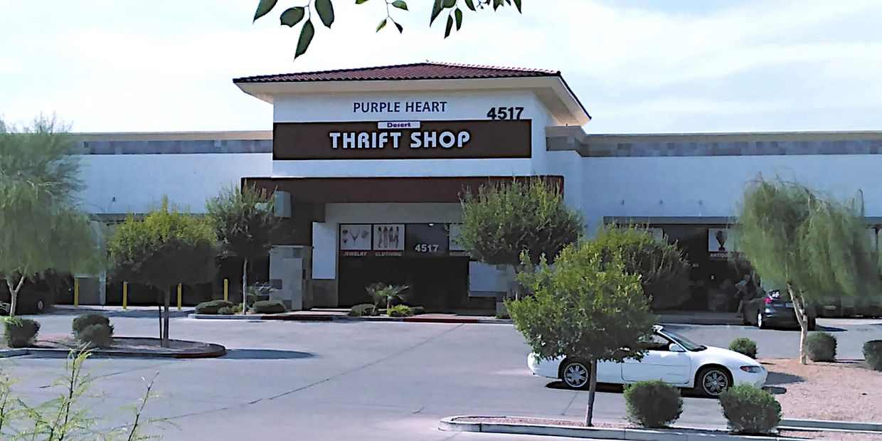Exterior of thrift store building at Greenfield Road and Main Street