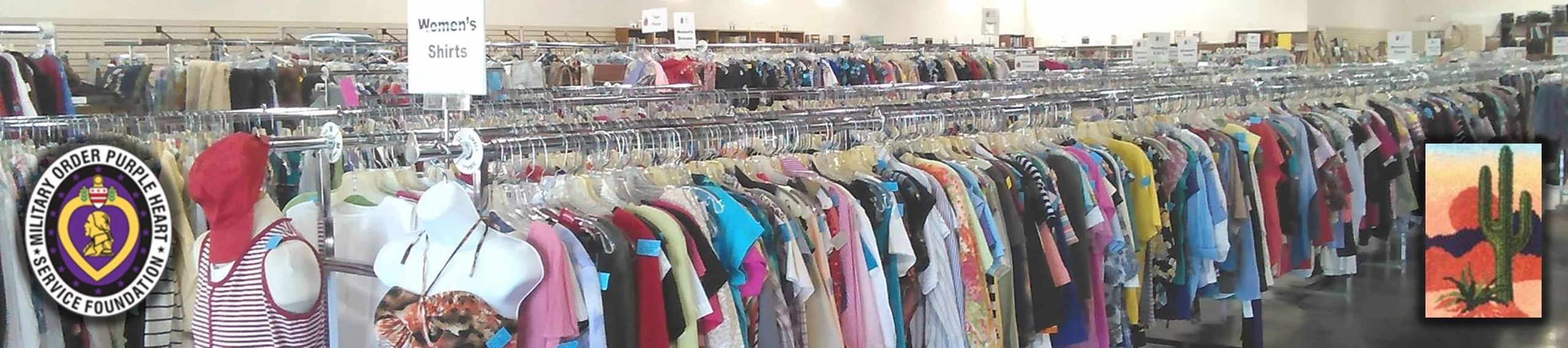 Thrift store with rows of clothing racks