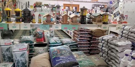 We have a large selection of Bird Feeders and a wide variety of feeds in several sizes 1 lb - 50 lbs
