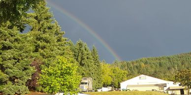 Rainbow over the horse barn located in the Willamette Valley and near Salem, Oregon.