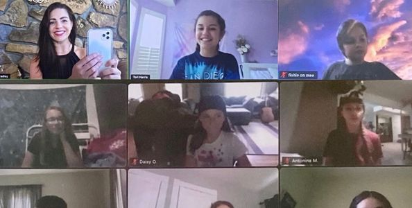 Photo of a Zoom call with an acting instructor and several students.