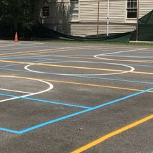 game court painting basketball asphalt