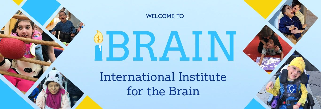 "Banner with photos of iBrain students "" Welcome to iBrain International Institute for the Brain"""