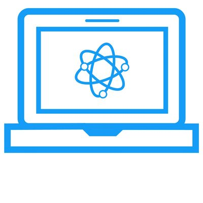 small icon of a computer with an atom on the screen