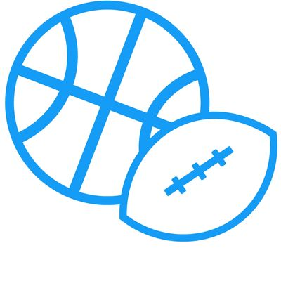 small icon of a basketball and a football
