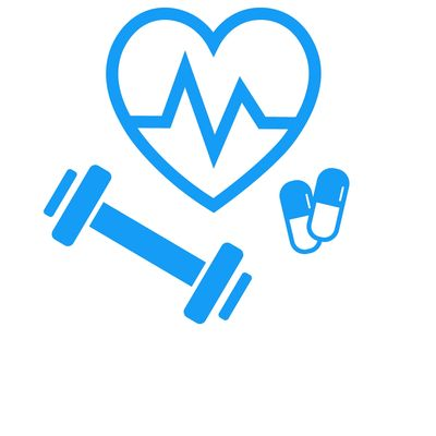 small icon with a heart, dumbbell, and two pills