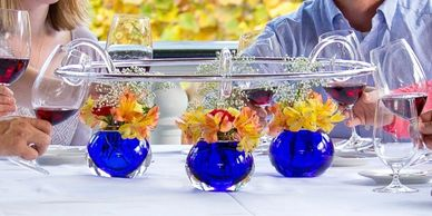 Blue Immersion glass Wine Chime table centerpiece. Family Gathering Toasting Bar holiday tabletop